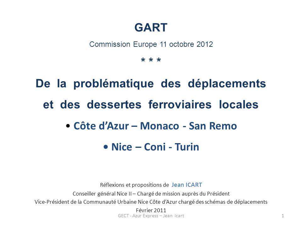 GECT - Azur Express – Jean Icart Un bassin de vie de 1 million dhabitants (hors touristes) sur une bande de terre étroite de 100 km de long Population et Densité 2006 - A.M.