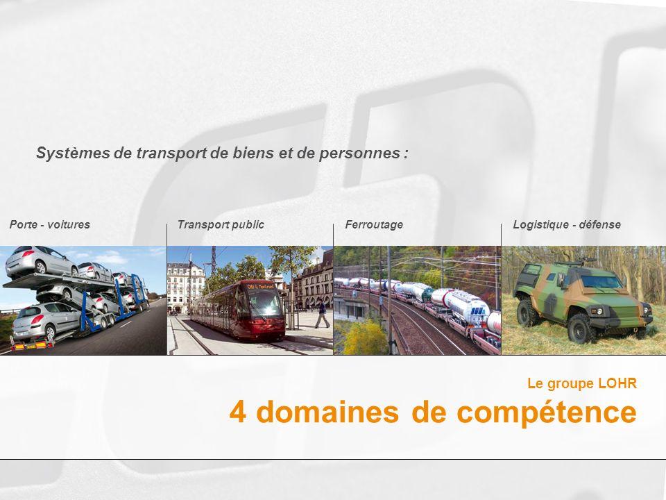 Logistique - défenseFerroutageTransport publicPorte - voitures Systèmes de transport de biens et de personnes : Le groupe LOHR 4 domaines de compétenc