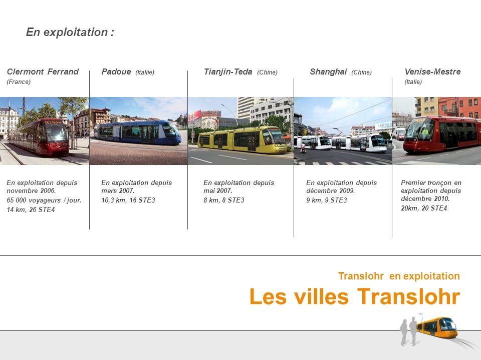 Translohr en exploitation Les villes Translohr En exploitation : Tianjin-Teda (Chine) Padoue (Italiie) Clermont Ferrand (France) Shanghai (Chine) En e