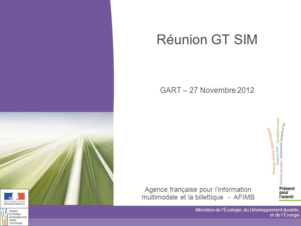 Agence française pour linformation multimodale et la billettique - AFIMB Ministère de l Écologie, du Développement durable, et de lÉnergie Réunion GT SIM GART – 27 Novembre 2012