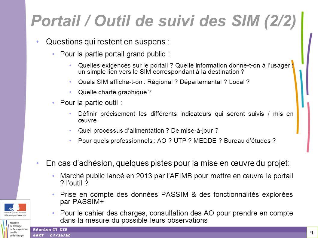 4 4 4 Réunion GT SIM GART – 27/11/12 Questions qui restent en suspens : Pour la partie portail grand public : Quelles exigences sur le portail ? Quell