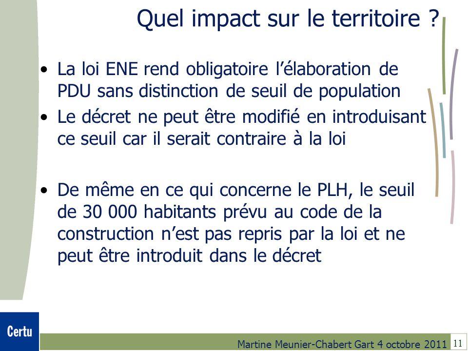11 Martine Meunier-Chabert Gart 4 octobre 2011 Quel impact sur le territoire ? La loi ENE rend obligatoire lélaboration de PDU sans distinction de seu