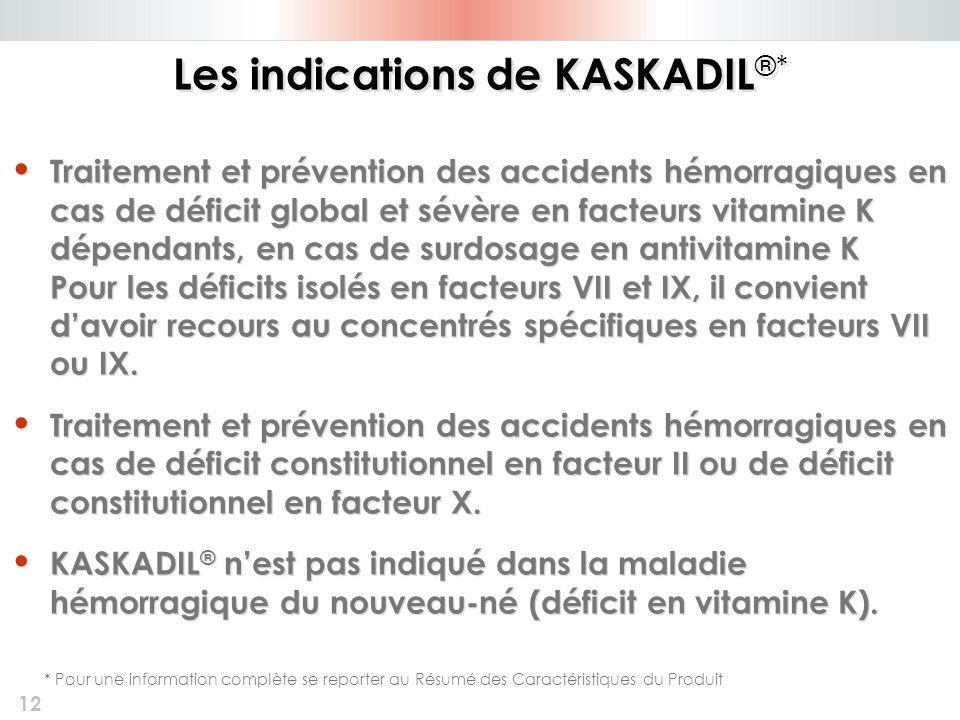 12 Les indications de KASKADIL ®* Traitement et prévention des accidents hémorragiques en cas de déficit global et sévère en facteurs vitamine K dépen