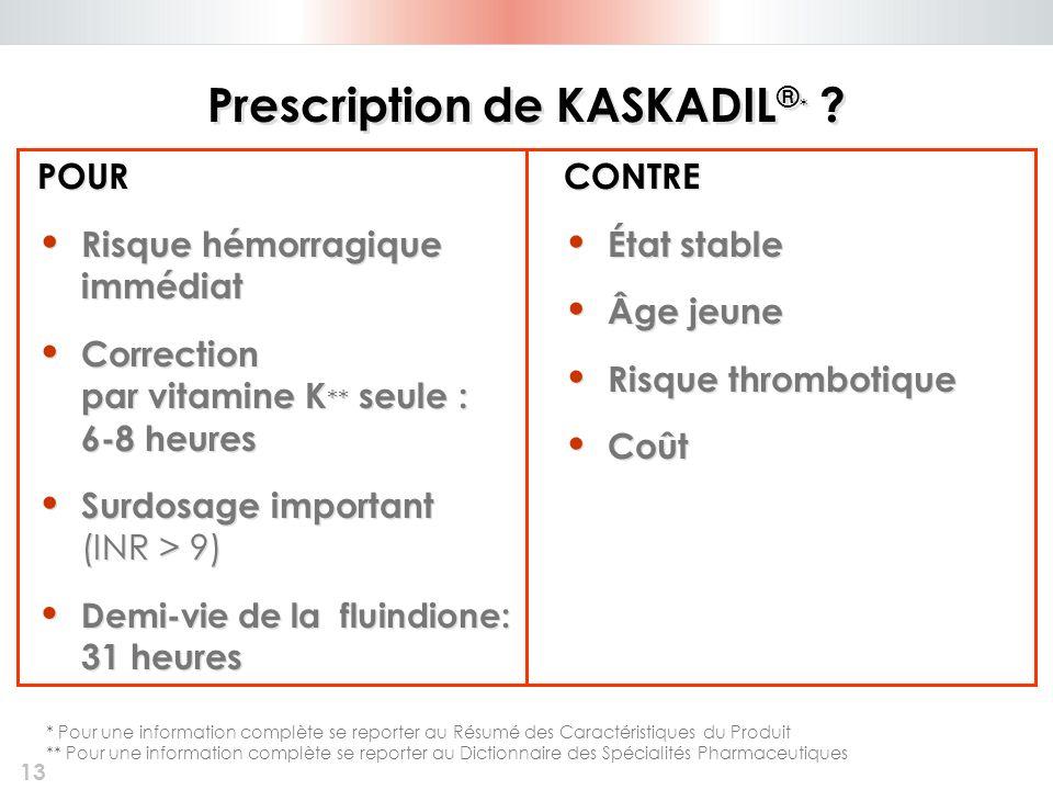 13 Prescription de KASKADIL ® * ? POUR Risque hémorragique immédiat Correction par vitamine K ** seule : 6-8 heures Surdosage important (INR > 9) Demi