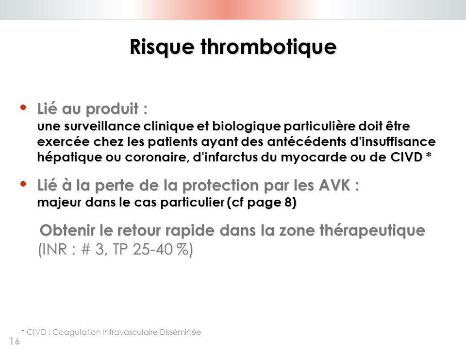 16 Risque thrombotique Lié au produit : une surveillance clinique et biologique particulière doit être exercée chez les patients ayant des antécédents