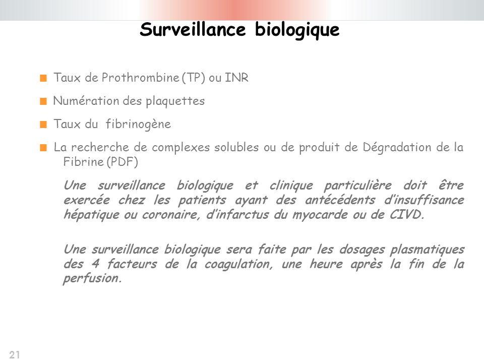 21 Taux de Prothrombine (TP) ou INR Numération des plaquettes Taux du fibrinogène La recherche de complexes solubles ou de produit de Dégradation de l