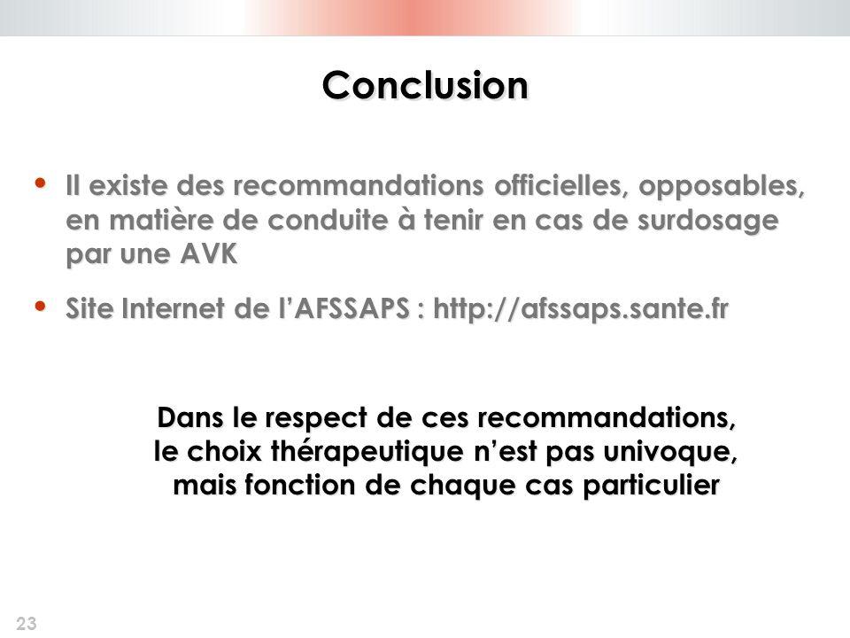 23 Conclusion Il existe des recommandations officielles, opposables, en matière de conduite à tenir en cas de surdosage par une AVK Site Internet de l