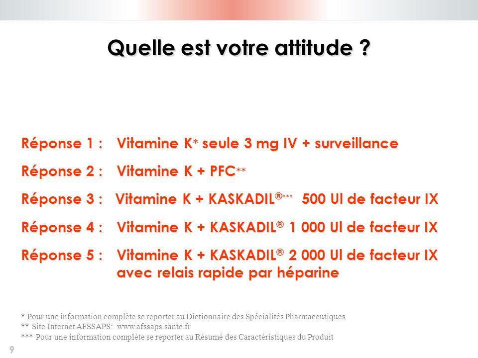 9 Quelle est votre attitude ? Réponse 1 : Vitamine K * seule 3 mg IV + surveillance Réponse 2 : Vitamine K + PFC ** Réponse 3 : Vitamine K + KASKADIL