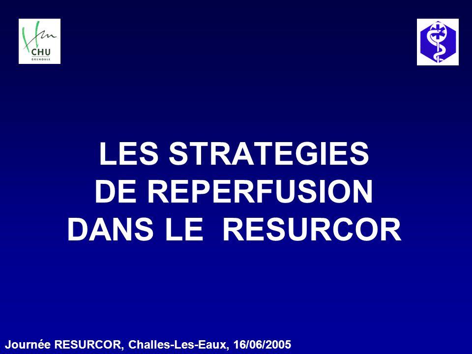 Introduction Registre RESURCOR 2 ans et 3 mois Octobre 2002 à Décembre 2004 1422 Infarctus dont 1051 (73,9%) pris en charge par un SMUR Quelles pratiques en terme de reperfusion?