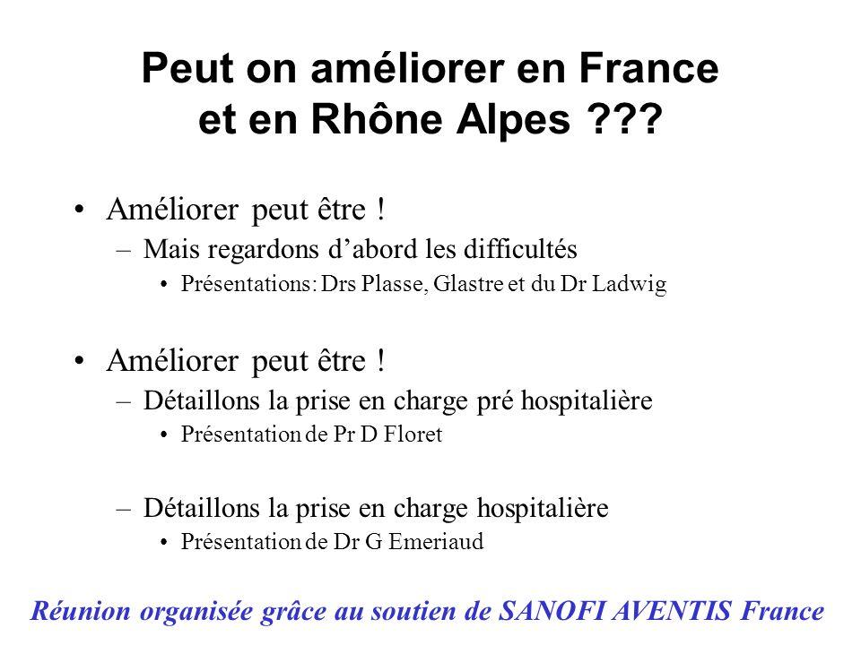 Peut on améliorer en France et en Rhône Alpes ??? Améliorer peut être ! –Mais regardons dabord les difficultés Présentations: Drs Plasse, Glastre et d