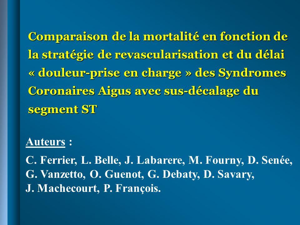 Comparaison de la mortalité en fonction de la stratégie de revascularisation et du délai « douleur-prise en charge » des Syndromes Coronaires Aigus av