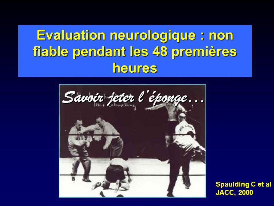 Evaluation neurologique : non fiable pendant les 48 premières heures Spaulding C et al JACC, 2000
