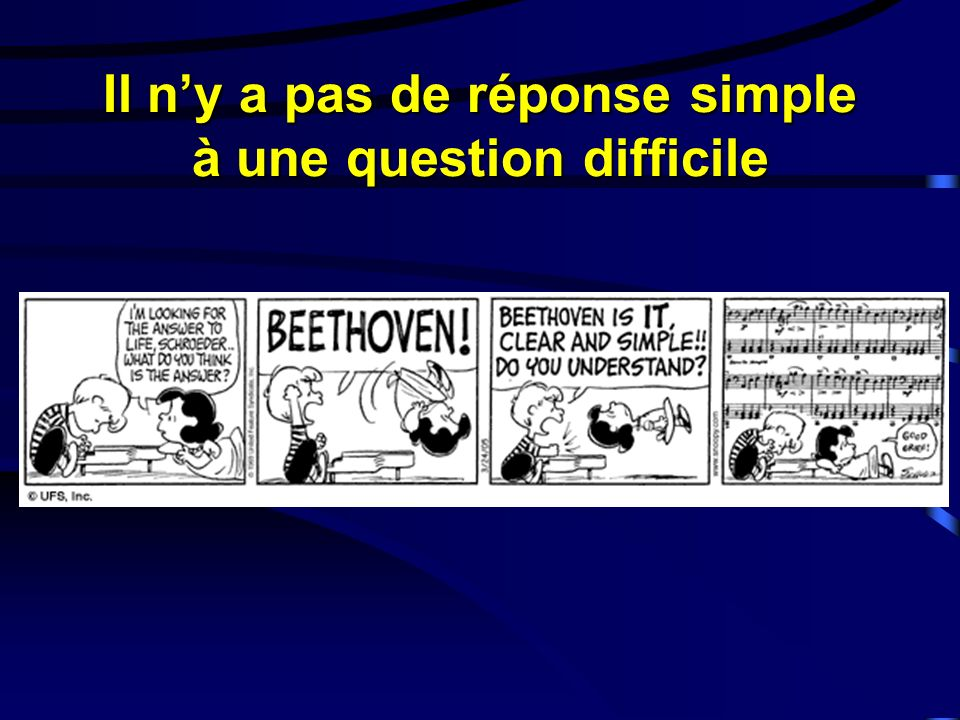 Il ny a pas de réponse simple à une question difficile