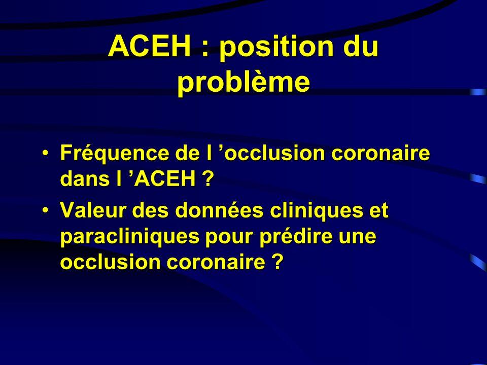 ACEH : position du problème Fréquence de l occlusion coronaire dans l ACEH ?Fréquence de l occlusion coronaire dans l ACEH .