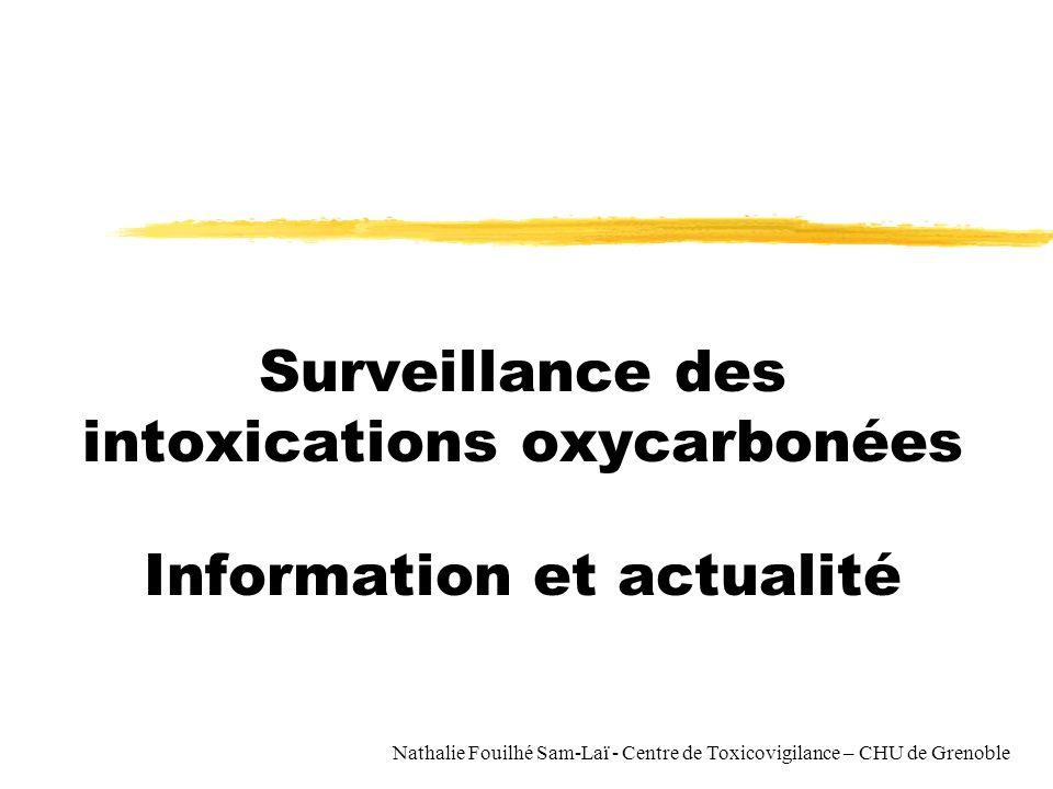 Nathalie Fouilhé Sam-Laï - Centre de Toxicovigilance – CHU de Grenoble Surveillance des intoxications oxycarbonées Information et actualité