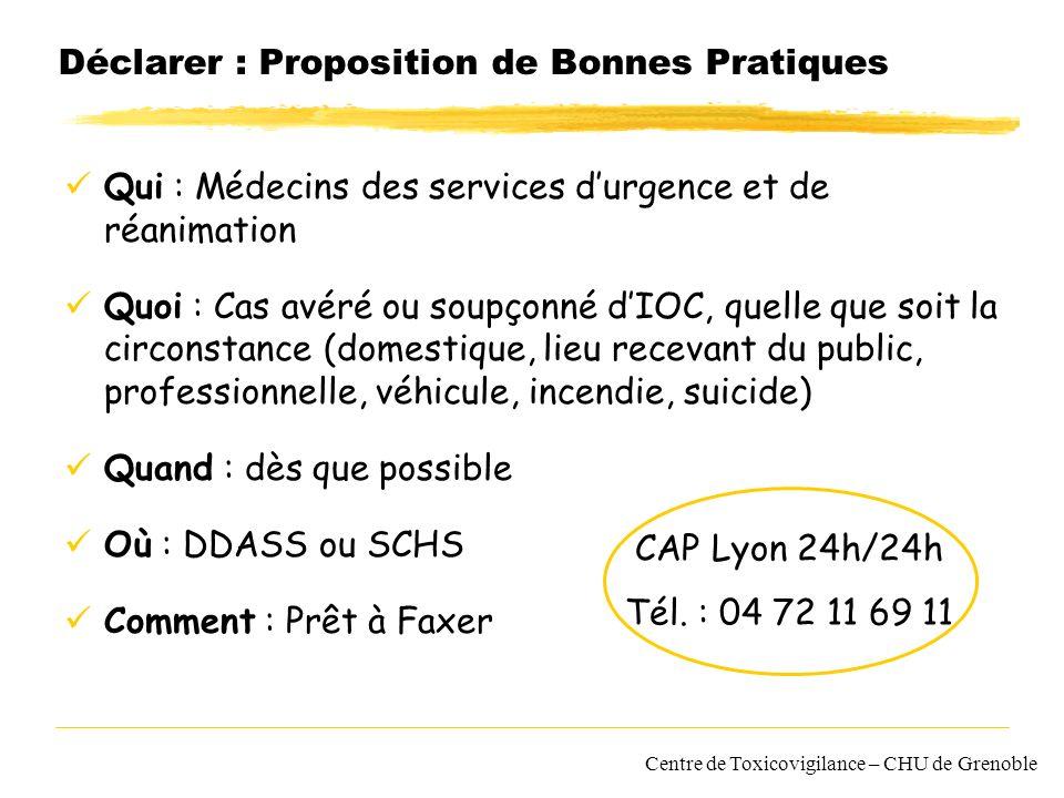 Centre de Toxicovigilance – CHU de Grenoble Déclarer : Proposition de Bonnes Pratiques Qui : Médecins des services durgence et de réanimation Quoi : C