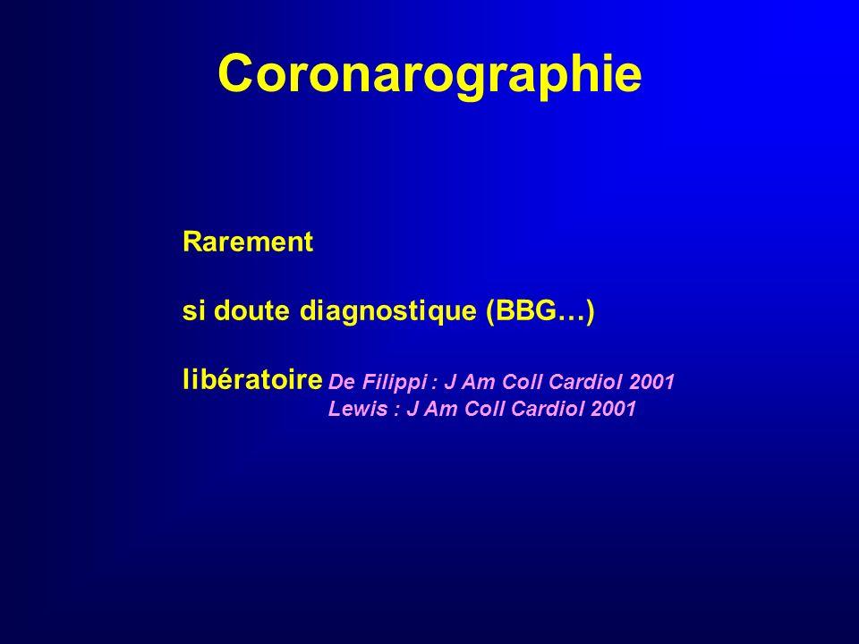 Echocardiographie De repos signes de gravité : insuf. cardiaque ou respiratoire aiguë suspicion dissection, tamponnade, CPA douleur évocatrice dIDM et