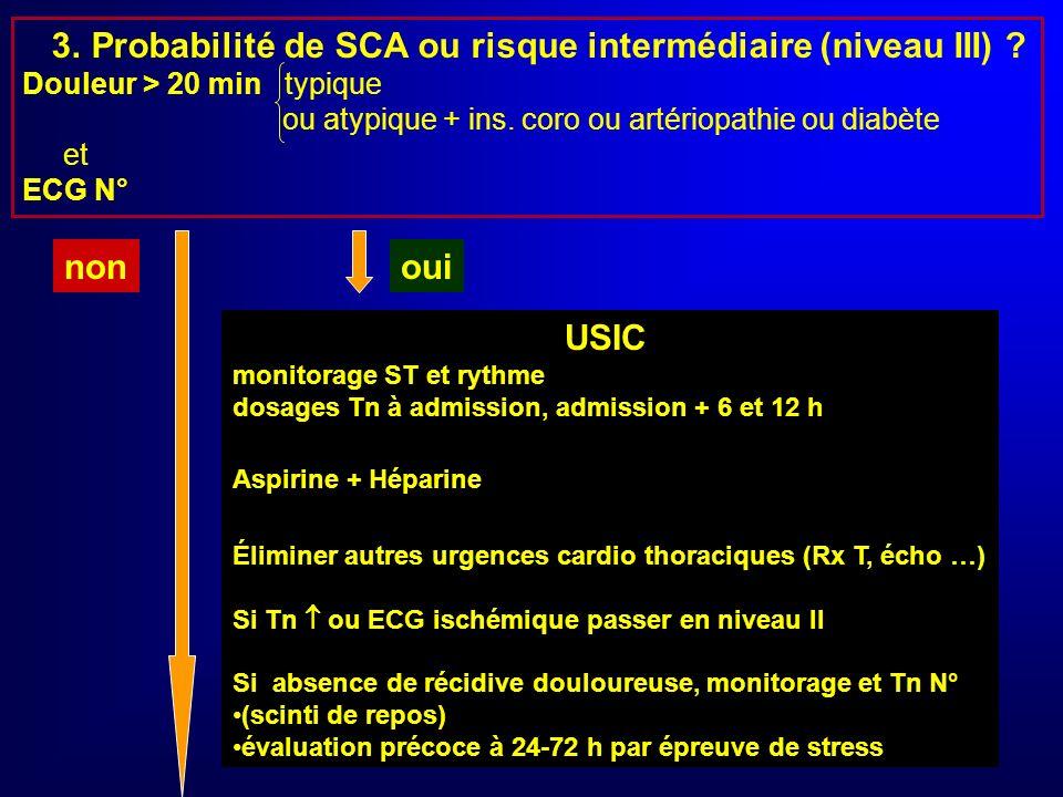 1.Probabilité très élevée IDM (niveau I) ? Douleur infarctoïde + sus ST (ou BBG) ou Q récente oui USIC ou salle de coro cf RESURCOR non 2. Probabilité