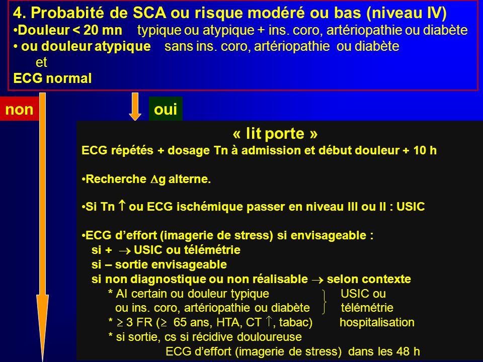 3. Probabilité de SCA ou risque intermédiaire (niveau III) ? Douleur > 20 min typique ou atypique + ins. coro ou artériopathie ou diabète et ECG N° ou