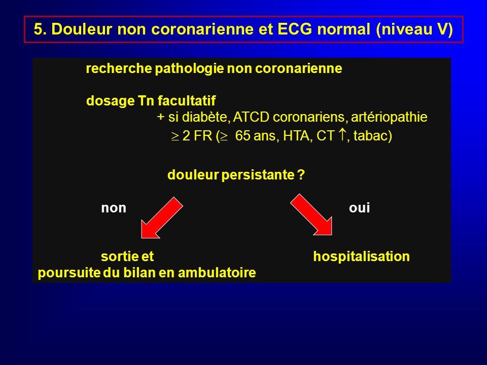 4. Probabité de SCA ou risque modéré ou bas (niveau IV) Douleur < 20 mn typique ou atypique + ins. coro, artériopathie ou diabète ou douleur atypique