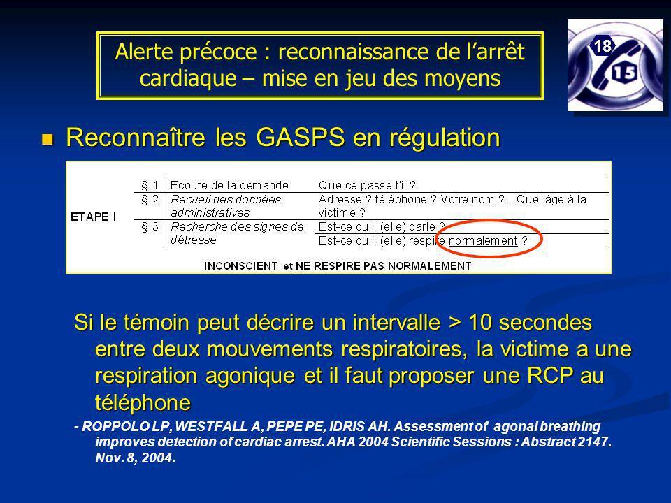 18 Reconnaître les GASPS en régulation Reconnaître les GASPS en régulation Si le témoin peut décrire un intervalle > 10 secondes entre deux mouvements
