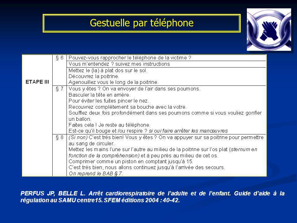 Gestuelle par téléphone PERFUS JP, BELLE L. Arrêt cardiorespiratoire de ladulte et de lenfant. Guide daide à la régulation au SAMU centre15. SFEM édit