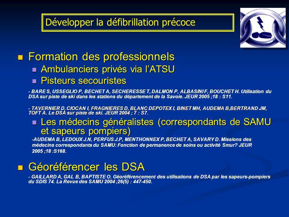 Formation des professionnels Formation des professionnels Ambulanciers privés via lATSU Ambulanciers privés via lATSU Pisteurs secouristes Pisteurs se