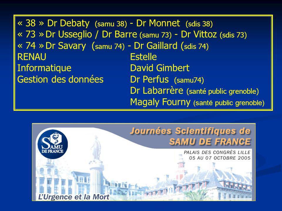 « 38 » Dr Debaty (samu 38) - Dr Monnet (sdis 38) « 73 »Dr Usseglio / Dr Barre (samu 73) - Dr Vittoz (sdis 73) « 74 »Dr Savary ( samu 74) - Dr Gaillard