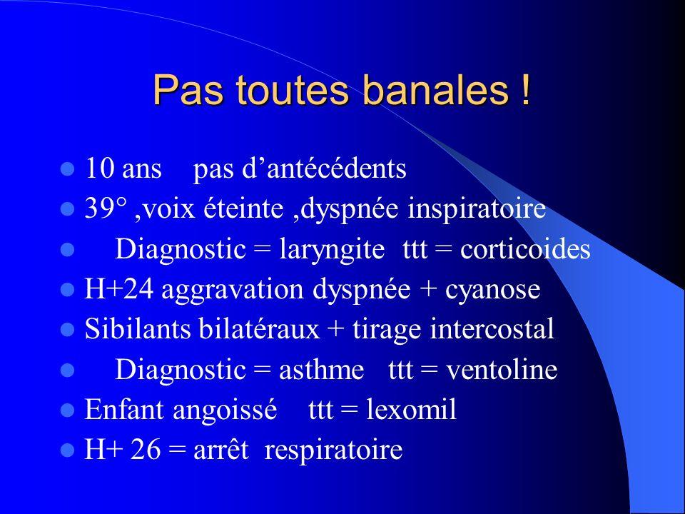 Pas toutes banales ! 10 ans pas dantécédents 39°,voix éteinte,dyspnée inspiratoire Diagnostic = laryngite ttt = corticoides H+24 aggravation dyspnée +