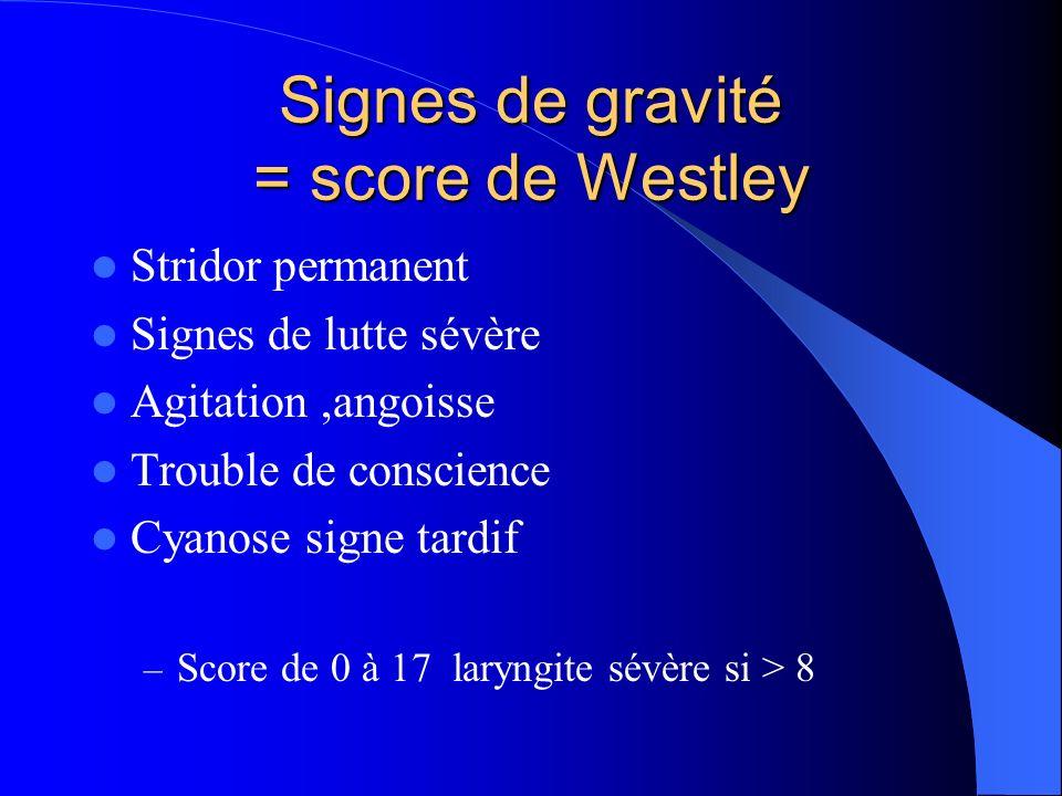 Signes de gravité = score de Westley Stridor permanent Signes de lutte sévère Agitation,angoisse Trouble de conscience Cyanose signe tardif – Score de