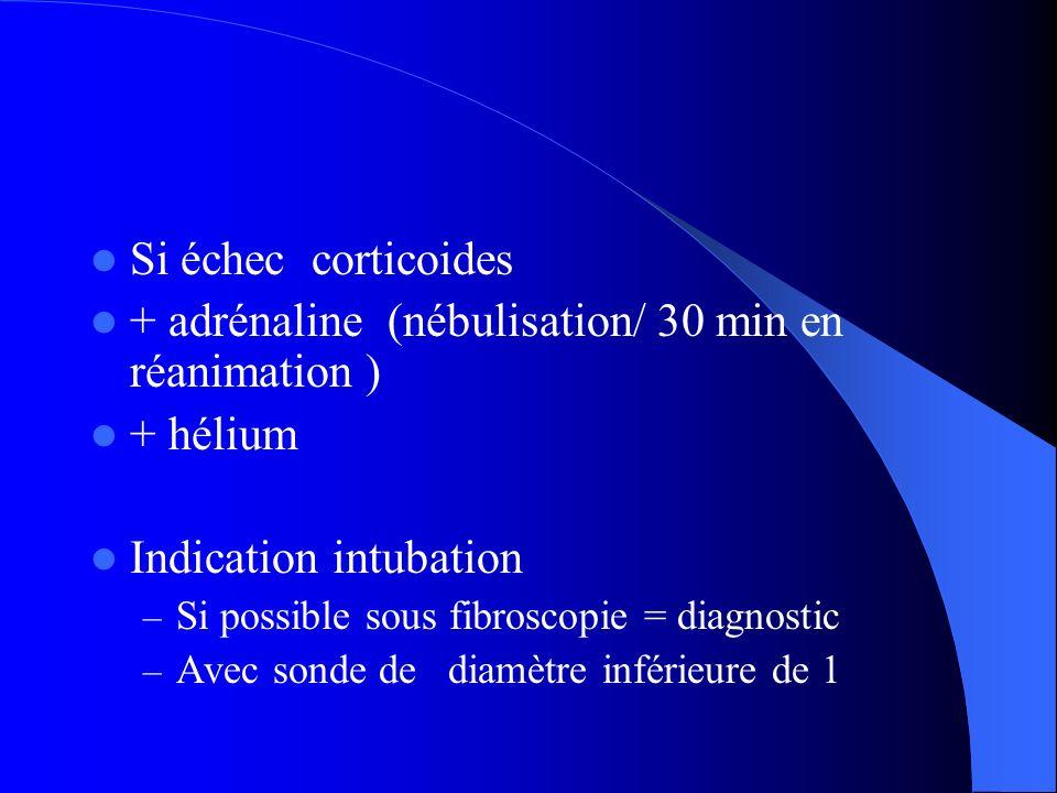Si échec corticoides + adrénaline (nébulisation/ 30 min en réanimation ) + hélium Indication intubation – Si possible sous fibroscopie = diagnostic –