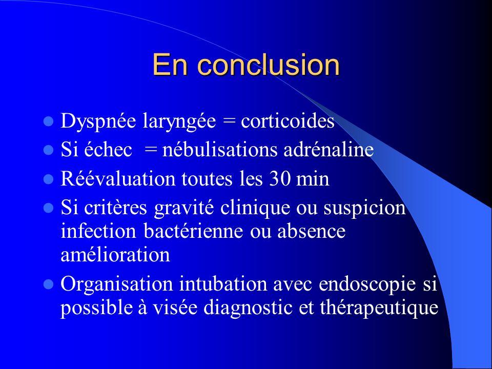 En conclusion Dyspnée laryngée = corticoides Si échec = nébulisations adrénaline Réévaluation toutes les 30 min Si critères gravité clinique ou suspic