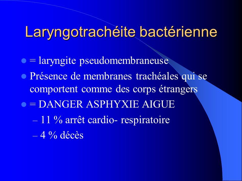 Laryngotrachéite bactérienne = laryngite pseudomembraneuse Présence de membranes trachéales qui se comportent comme des corps étrangers = DANGER ASPHY