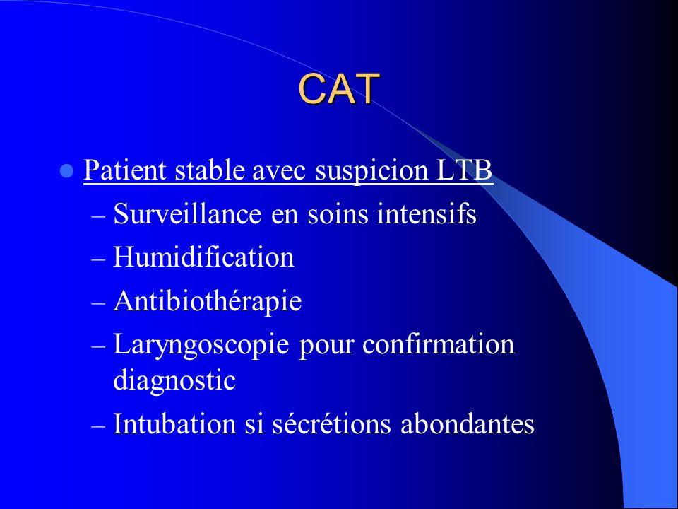 CAT Patient stable avec suspicion LTB – Surveillance en soins intensifs – Humidification – Antibiothérapie – Laryngoscopie pour confirmation diagnosti