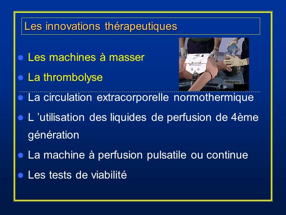 Les machines à masser La thrombolyse La circulation extracorporelle normothermique L utilisation des liquides de perfusion de 4ème génération La machi