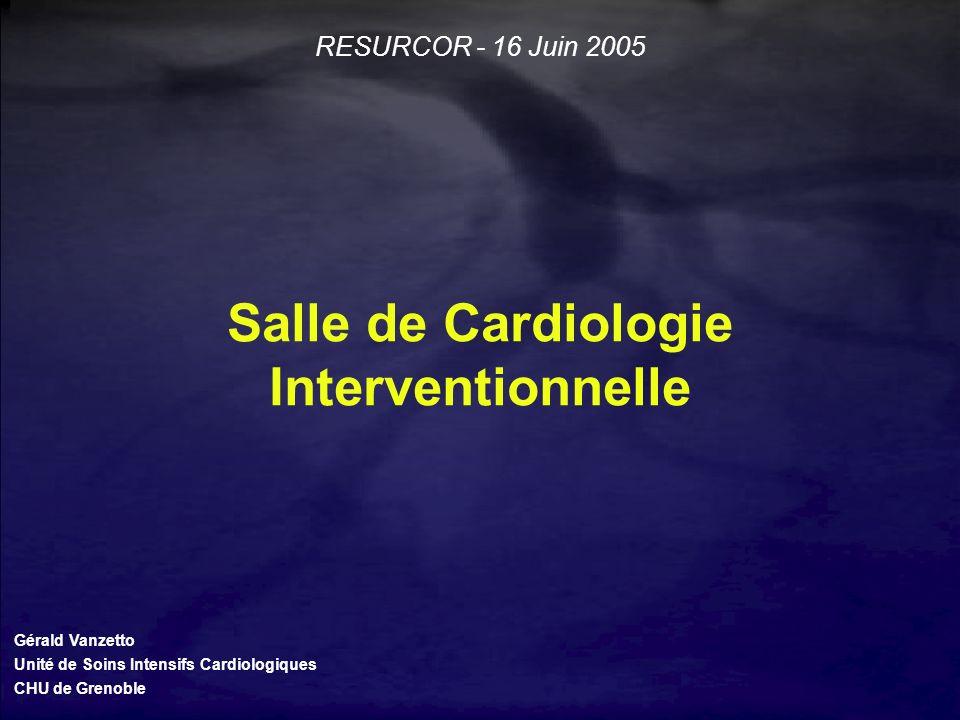 Salle de Cardiologie Interventionnelle Gérald Vanzetto Unité de Soins Intensifs Cardiologiques CHU de Grenoble RESURCOR - 16 Juin 2005