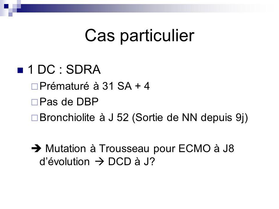 Cas particulier 1 DC : SDRA Prématuré à 31 SA + 4 Pas de DBP Bronchiolite à J 52 (Sortie de NN depuis 9j) Mutation à Trousseau pour ECMO à J8 dévoluti