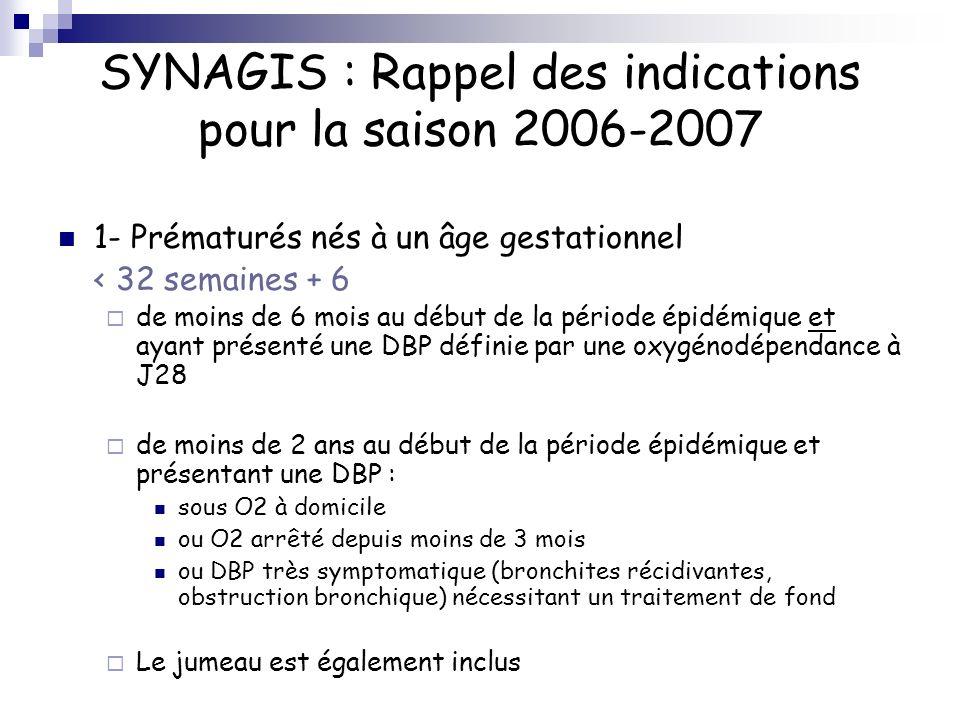 SYNAGIS : Rappel des indications pour la saison 2006-2007 1- Prématurés nés à un âge gestationnel < 32 semaines + 6 de moins de 6 mois au début de la
