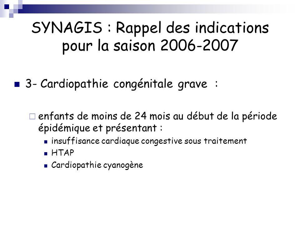 SYNAGIS : Rappel des indications pour la saison 2006-2007 3- Cardiopathie congénitale grave : enfants de moins de 24 mois au début de la période épidé