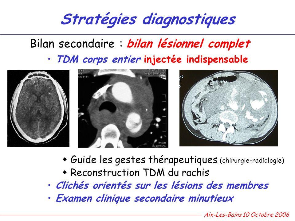 Stratégies diagnostiques Bilan secondaire : bilan lésionnel complet TDM corps entier injectée indispensable Guide les gestes thérapeutiques (chirurgie