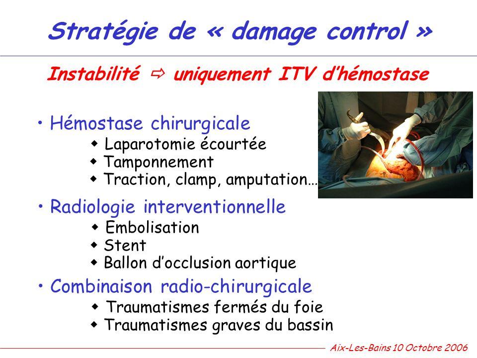 Stratégie de « damage control » Hémostase chirurgicale Laparotomie écourtée Tamponnement Traction, clamp, amputation… Radiologie interventionnelle Emb