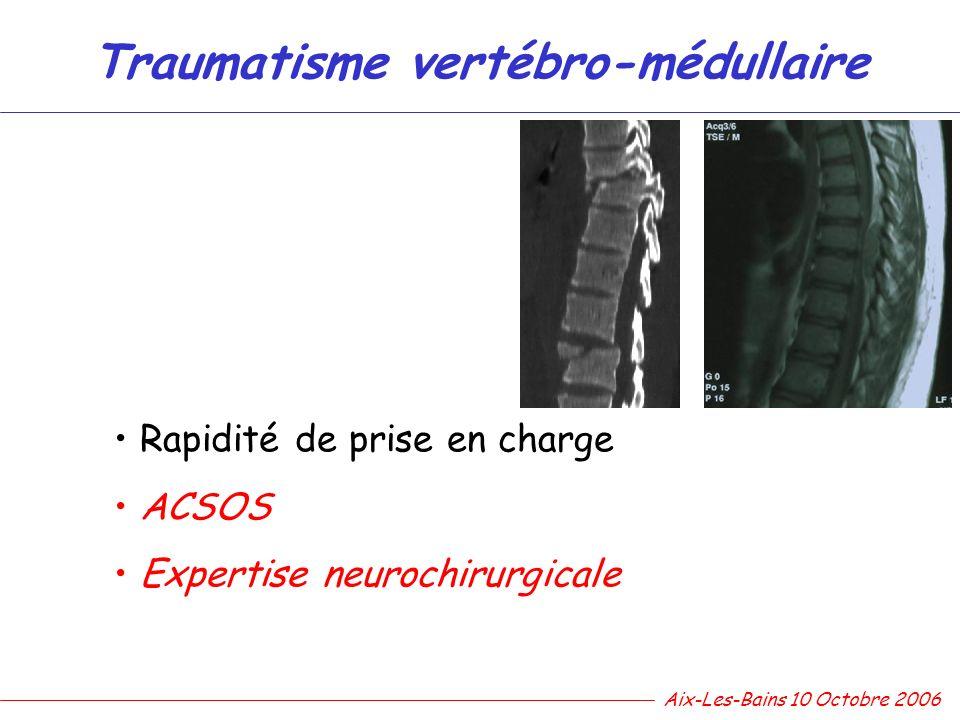 Traumatisme vertébro-médullaire Rapidité de prise en charge ACSOS Expertise neurochirurgicale Aix-Les-Bains 10 Octobre 2006