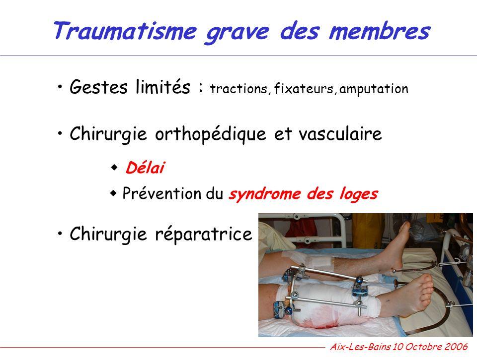 Traumatisme grave des membres Gestes limités : tractions, fixateurs, amputation Chirurgie orthopédique et vasculaire Délai Prévention du syndrome des