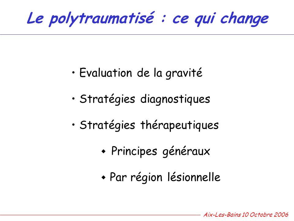 Le polytraumatisé : ce qui change Evaluation de la gravité Stratégies diagnostiques Stratégies thérapeutiques Principes généraux Par région lésionnell