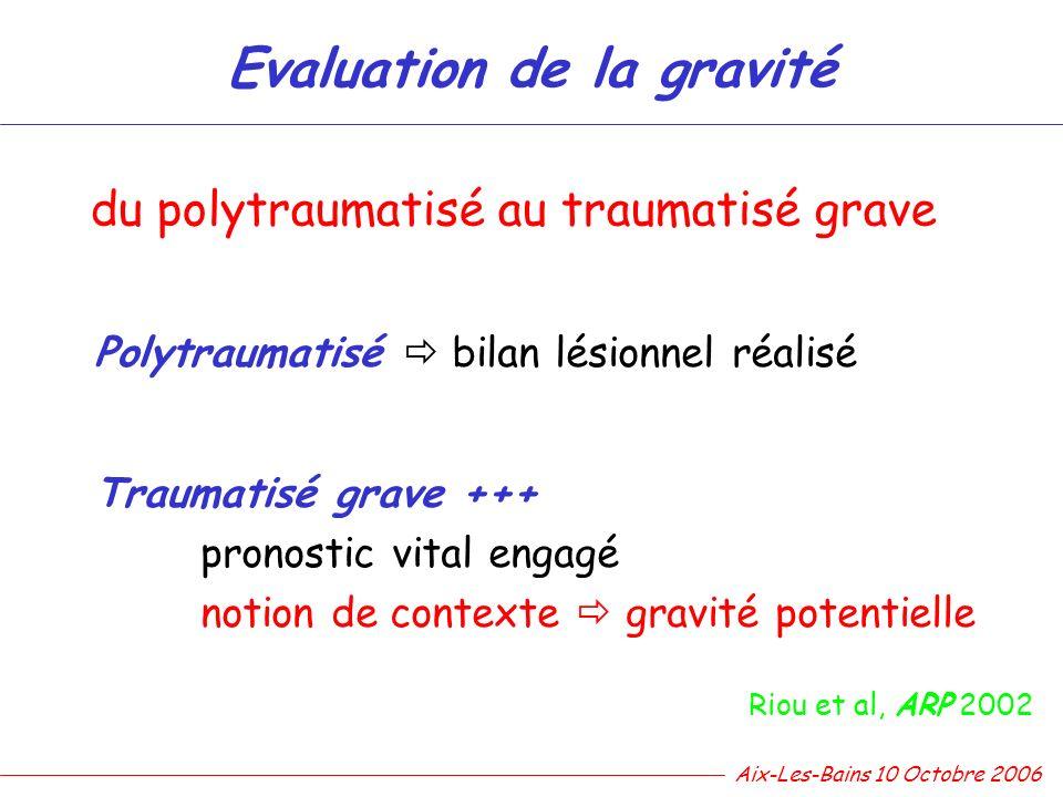 Evaluation de la gravité du polytraumatisé au traumatisé grave Polytraumatisé bilan lésionnel réalisé Traumatisé grave +++ pronostic vital engagé noti