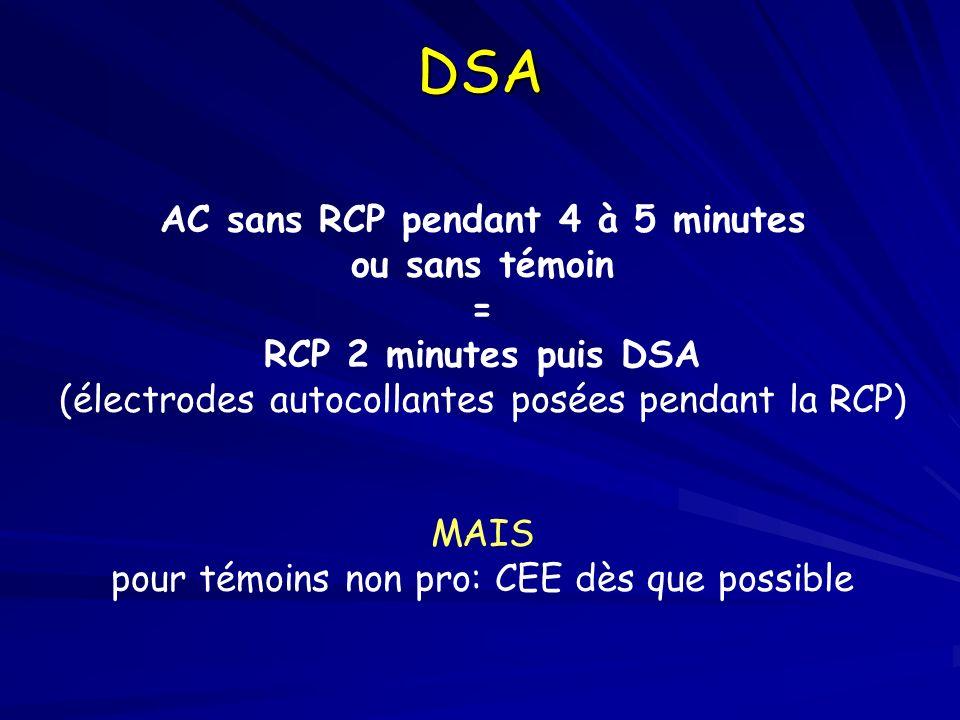 DSA AC sans RCP pendant 4 à 5 minutes ou sans témoin = RCP 2 minutes puis DSA (électrodes autocollantes posées pendant la RCP) MAIS pour témoins non p