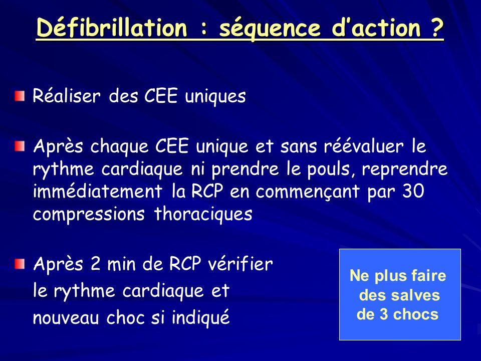 Défibrillation : séquence daction ? Réaliser des CEE uniques Après chaque CEE unique et sans réévaluer le rythme cardiaque ni prendre le pouls, repren