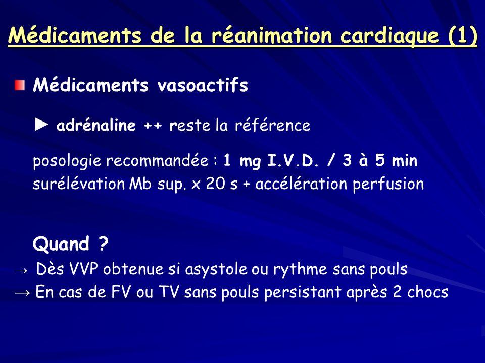 Médicaments de la réanimation cardiaque (1) Médicaments vasoactifs adrénaline ++ reste la référence posologie recommandée : 1 mg I.V.D. / 3 à 5 min su