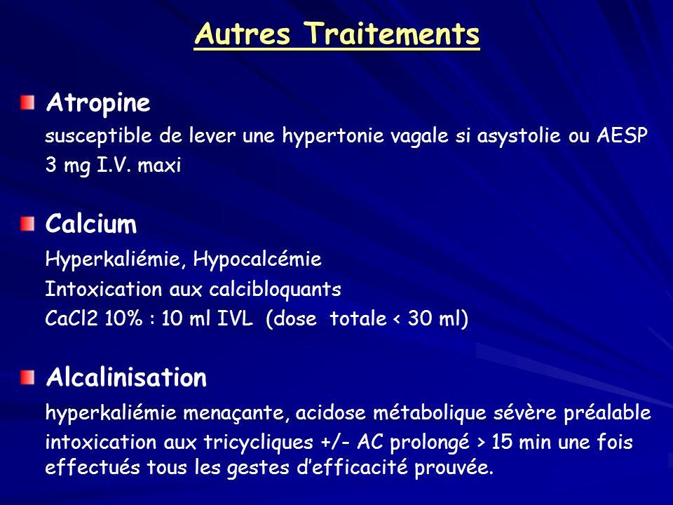 Autres Traitements Atropine susceptible de lever une hypertonie vagale si asystolie ou AESP 3 mg I.V. maxi Calcium Hyperkaliémie, Hypocalcémie Intoxic