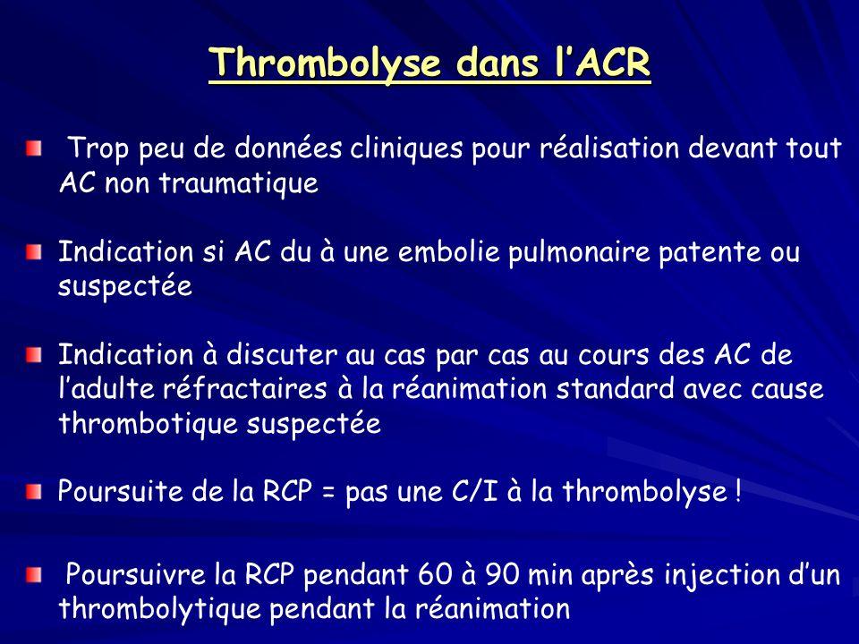 Thrombolyse dans lACR Trop peu de données cliniques pour réalisation devant tout AC non traumatique Indication si AC du à une embolie pulmonaire paten